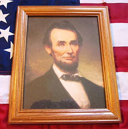 Framed Civil War Painting 1915 Portrait of President Abraham Lincoln on Canvas