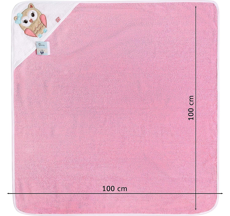 Be Mammy Kapuzenhandtuch Babyhandtuch aus Baumwolle Oeko-Tex Standard 100 100cm x 100cm BE20-240-BBL Dunkelblau - B/är