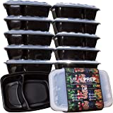 2-Compartment Premium Meal Prep Containers - Stackable Plastic Microwavable Dishwasher Safe Reusable - (28 Oz) (Set of 10)