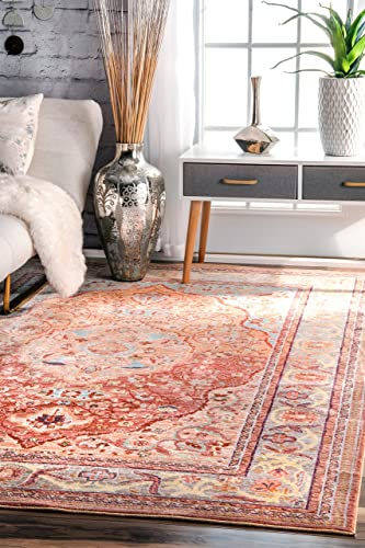 nuLOOM Eleanor Oriental Medallion Area Rug, 4 x 6 , Orange