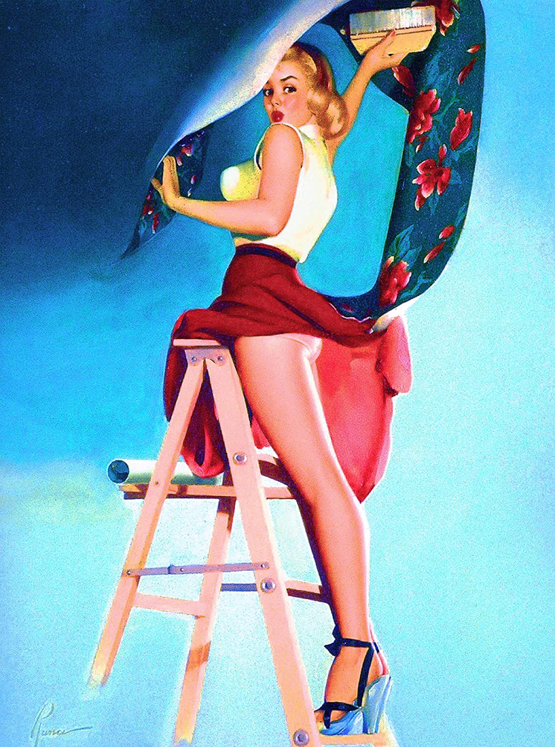 Amazon Com A Slice In Time 1940s Pin Up Girl Hanging Wallpaper