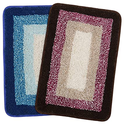 Saral Home Soft Cotton Anti Slip Bathmat (Set of 2 pc, 35x50 cm), Multi
