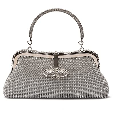 Ali Victory Women Butterfly Crystal Clutch Purse Rhinestone Evening  Handbags (Silver) 72ef147aeb232