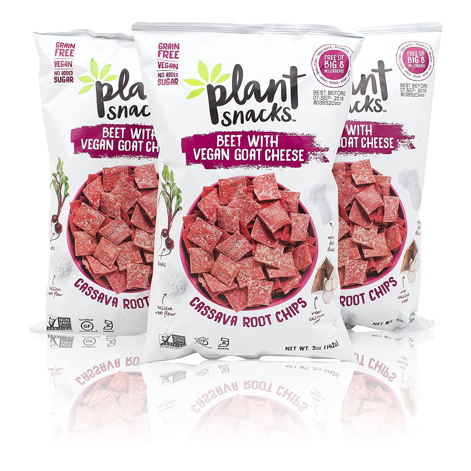 Plant Snacks Beet with VEGAN Goat Cheese Mix Cassava Root Chips, Vegan, Big-8 Allergen Free, Non-GMO Project Verified, Gluten Free, Grain Free, No Added Sugar, 5 oz Bags, Pack of 3