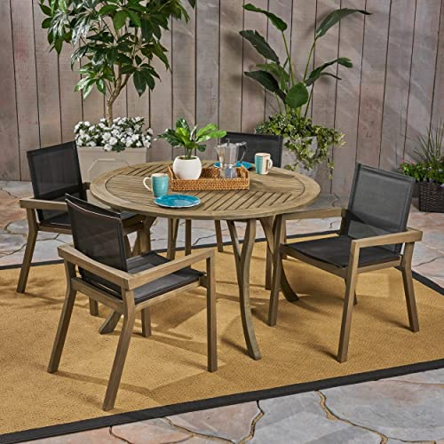 Christopher Knight Home Lockett Outdoor Acacia Wood 5 Piece Round Dining Set