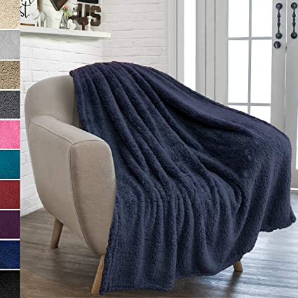 Peachy Pavilia Plush Sherpa Throw Blanket For Couch Sofa Fluffy Microfiber Fleece Throw Soft Fuzzy Cozy Lightweight Solid Navy Blue Blanket 50 X Gmtry Best Dining Table And Chair Ideas Images Gmtryco