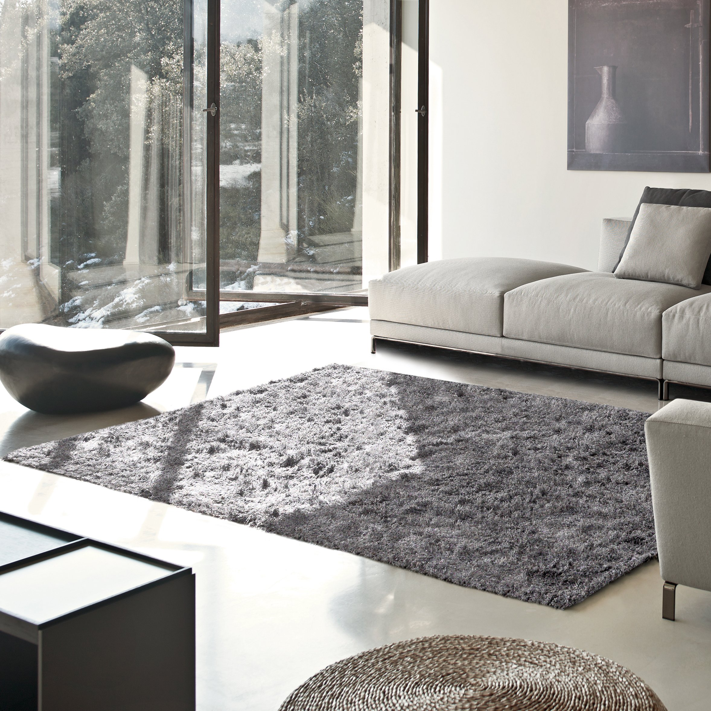 Superior Elegant Shag Rug, Plush and Cozy Hand Tufted Area Rugs, Chic and Contemporary Eyelash Shag Rug with Cotton Backing - 5' x 8' Rug, Grey by Superior (Image #1)