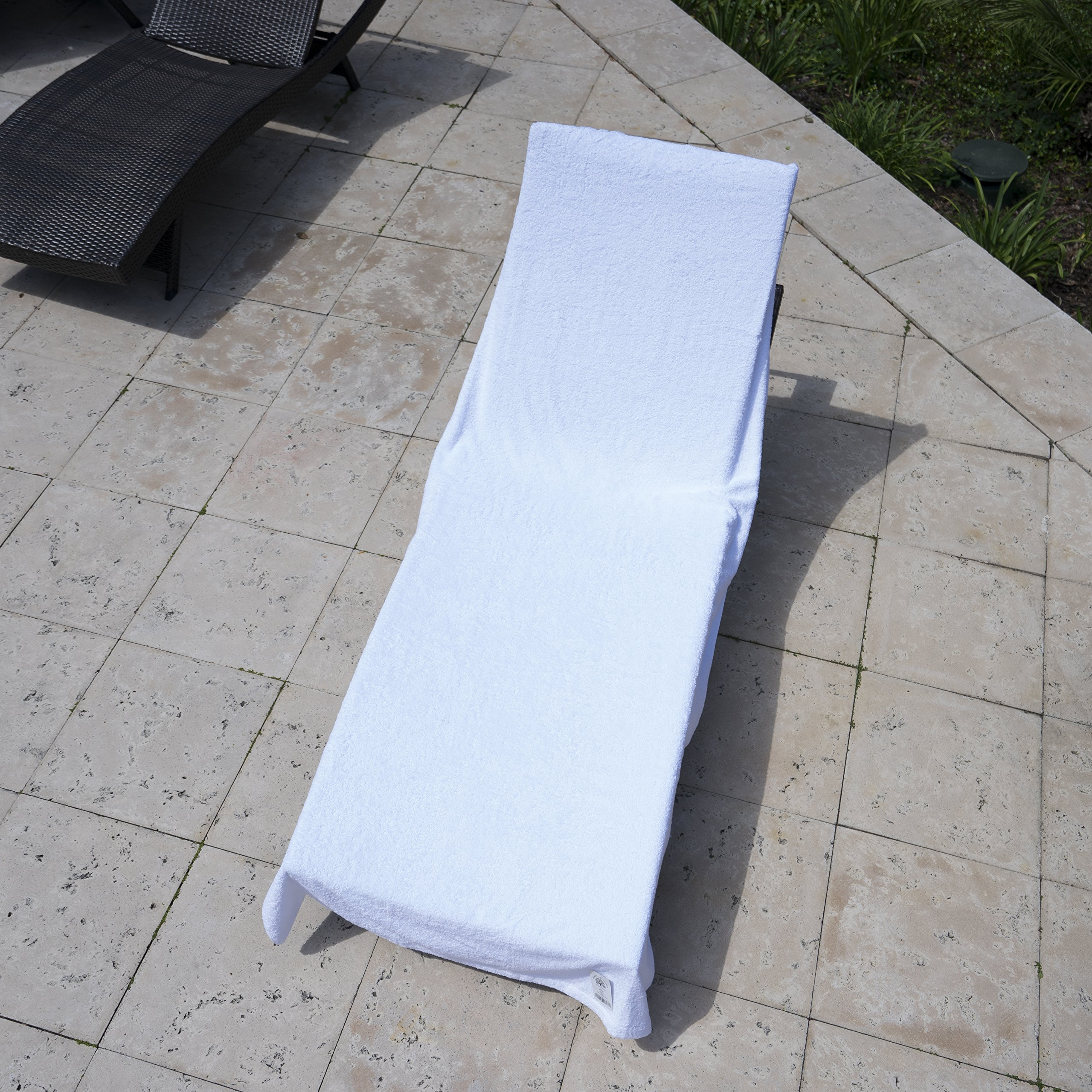 Winter Park Towel Co. Chaise Lounge Pool Chair Cover Towel (40'' x 90'') - Fitted Elastic Pocket Won't Slide (White)