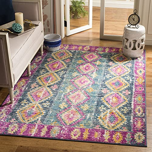 Safavieh Madison Collection MAD129F Fuchsia and Blue Bohemian Chic Distressed Area Rug 4 x 6