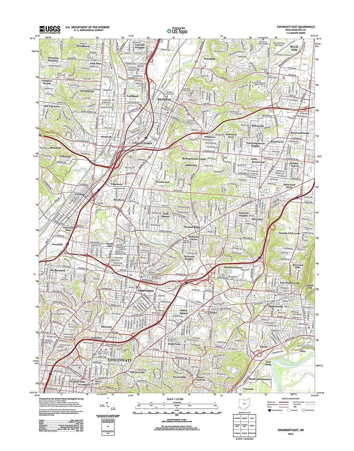 Amazon Com Topographic Map Poster Cincinnati East Oh Tnm Geopdf