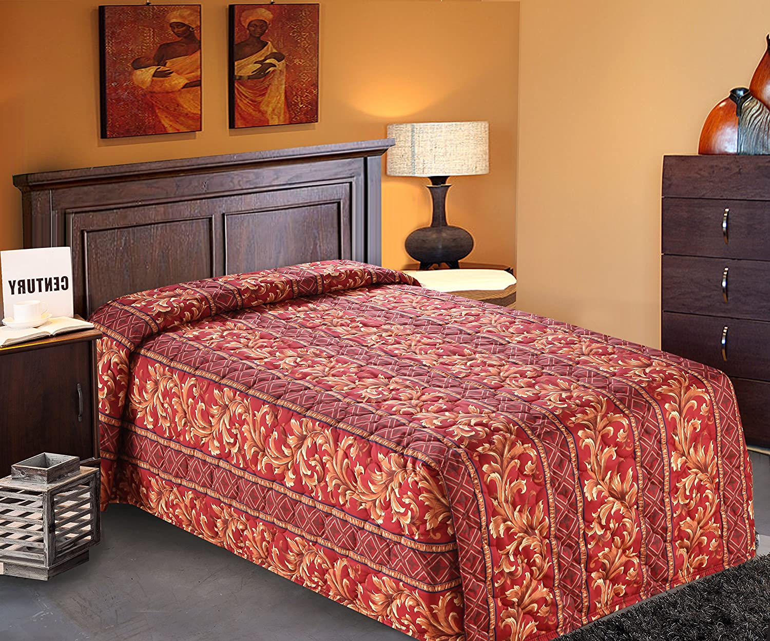 Full//Full XL 96x118-6.0 lbs Everest Supply Quilted Bedspread Designed for Hotel//Motel Resort Home Over Sized 21 Fall on Each Side 100/% Polyester Fabric-Modern Print-Orange-Waterfall Style