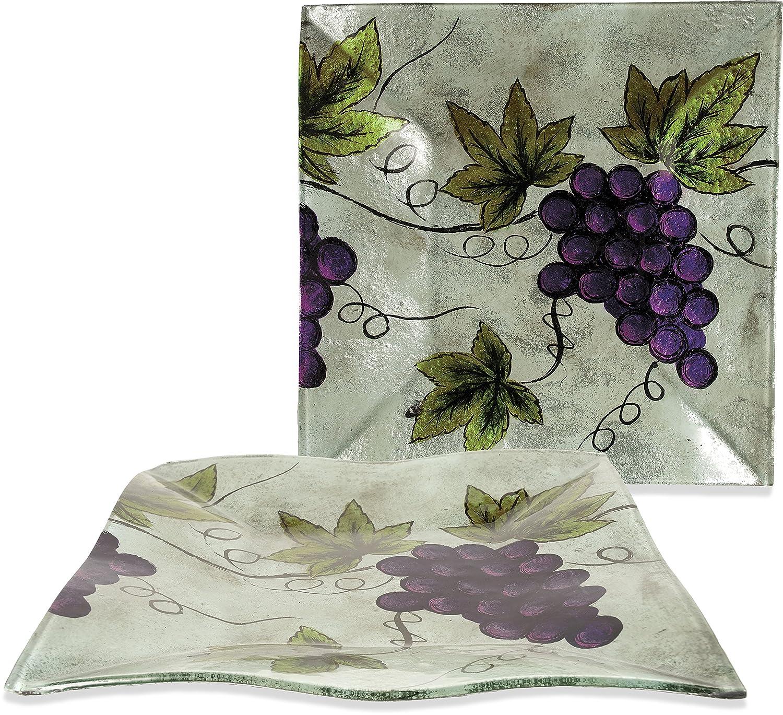 AngelStar 19102 Vineyard Grape Square Plate 10-Inch