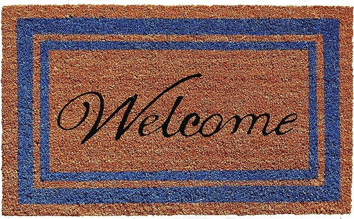 152971830welc Border Welcome Doormat 18 X 30 Blue 16x24 In Amazon Co Uk Kitchen Home