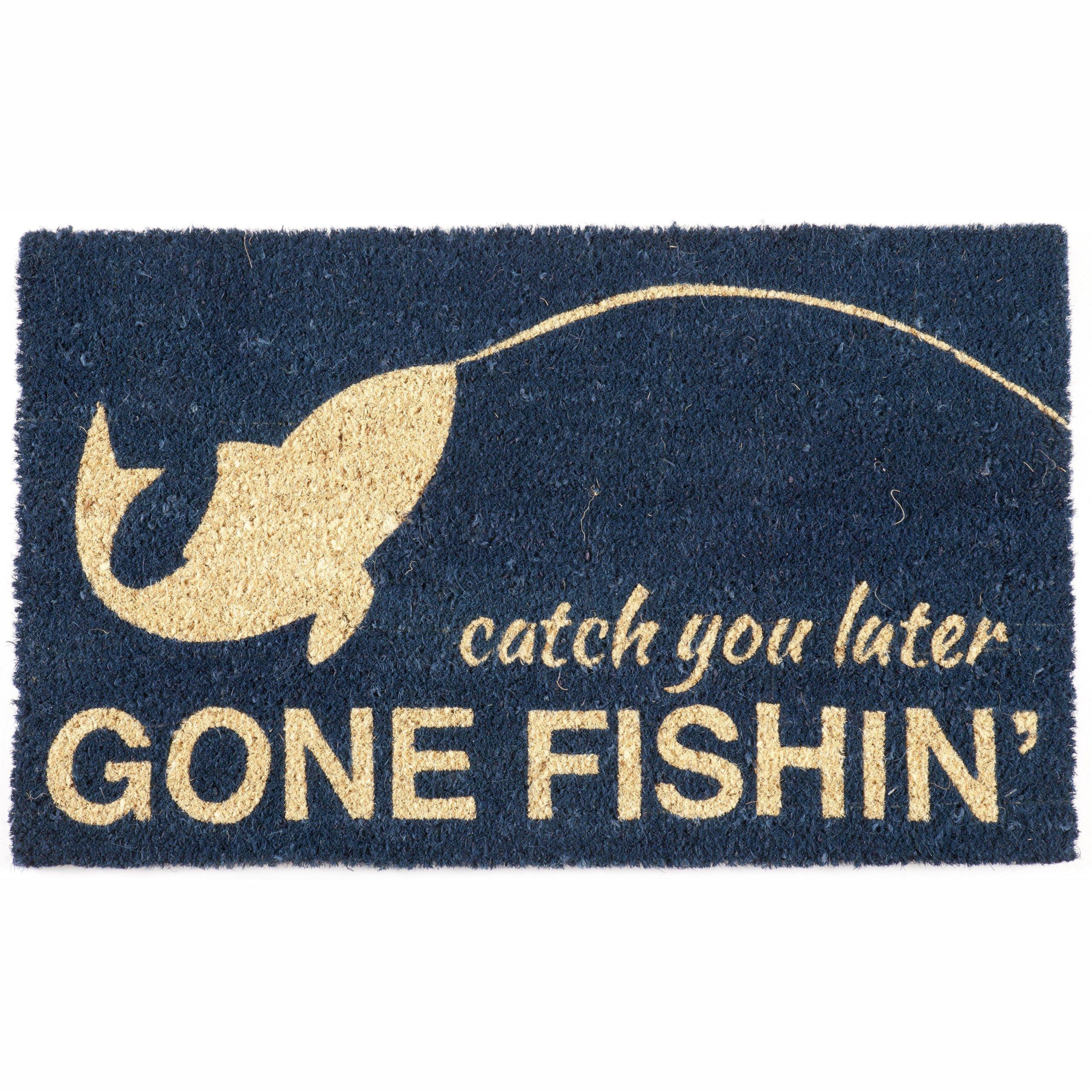 Entryways Gone Fishin Non Slip Coir Doormat