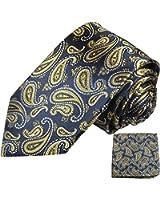 Paul Malone skinny necktie (6cm width) set 2pcs blue gold paisley men´s tie (regular & extra long length) + handkerchief
