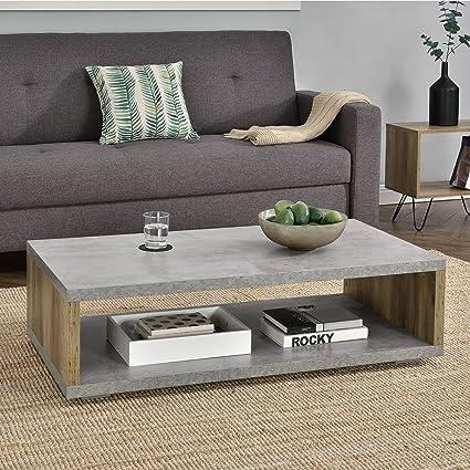 en.casa]® Tavolino da salotto moderno - Effetto calcestruzzo/legno ...