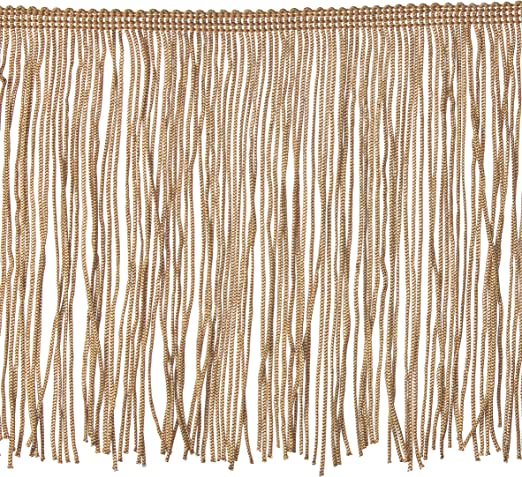 "Antique Old Gold 4/"" Chainette Fringe Trim Old Gold By The Yard"