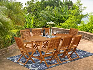 This 9 Pc Acacia Outside patio Dining Sets includes a single outdoor table and Eight foldable outdoor chairs