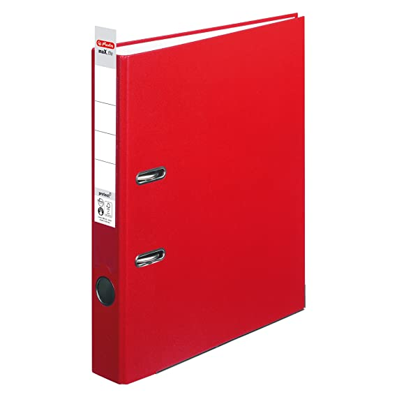 Archivador Herlitz 5450309, protección maX.file. A4 (5 cm), con etiqueta en el lomo, color rosa: Amazon.es: Oficina y papelería