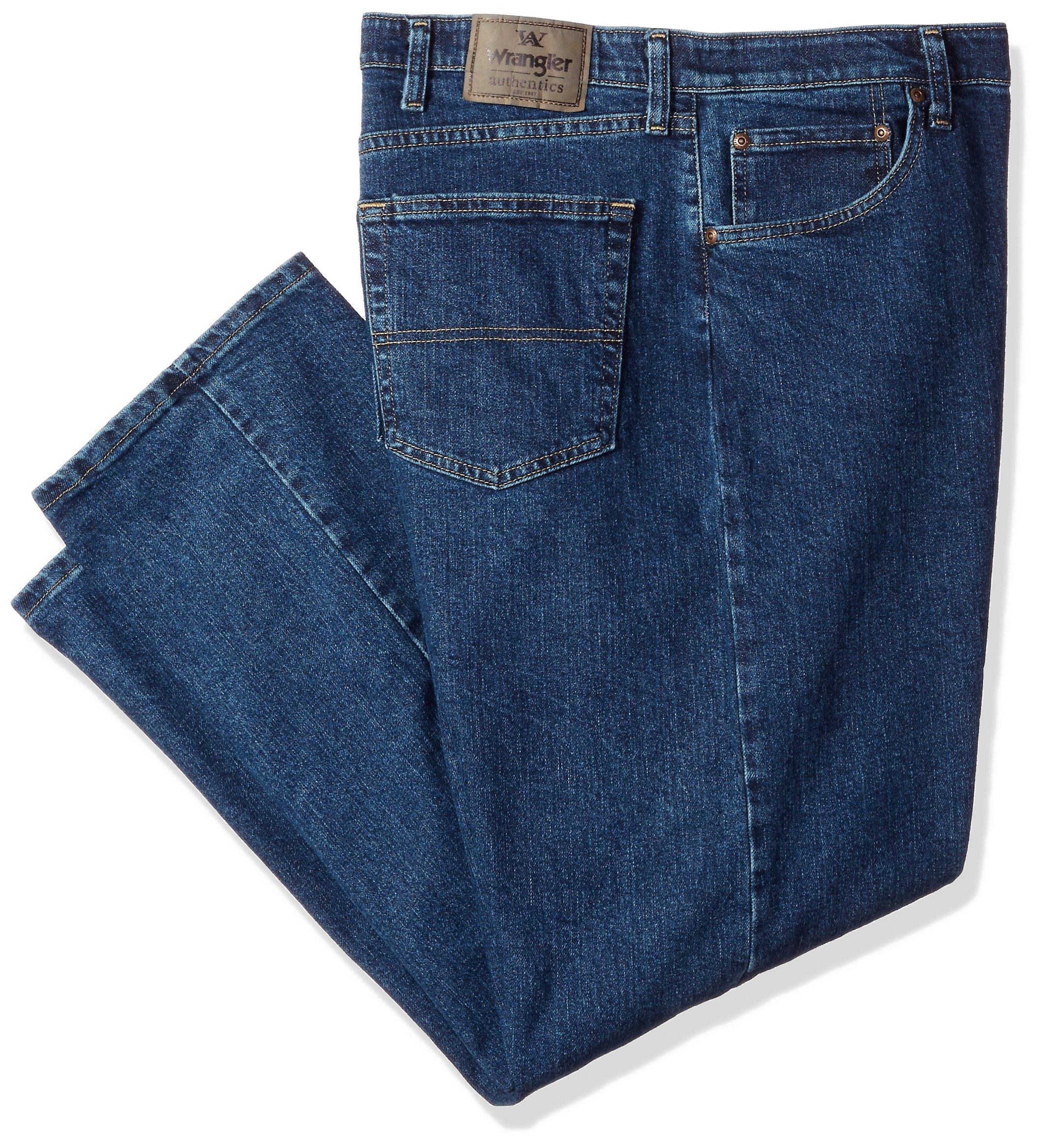 Wrangler Men's Big & Tall Regular Fit Comfort Flex Waist Jean, Dark Stonewash, 44X30
