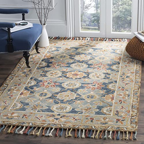 Safavieh Aspen Collection APN110A Grey and Navy Premium Wool Area Rug 5 x 8