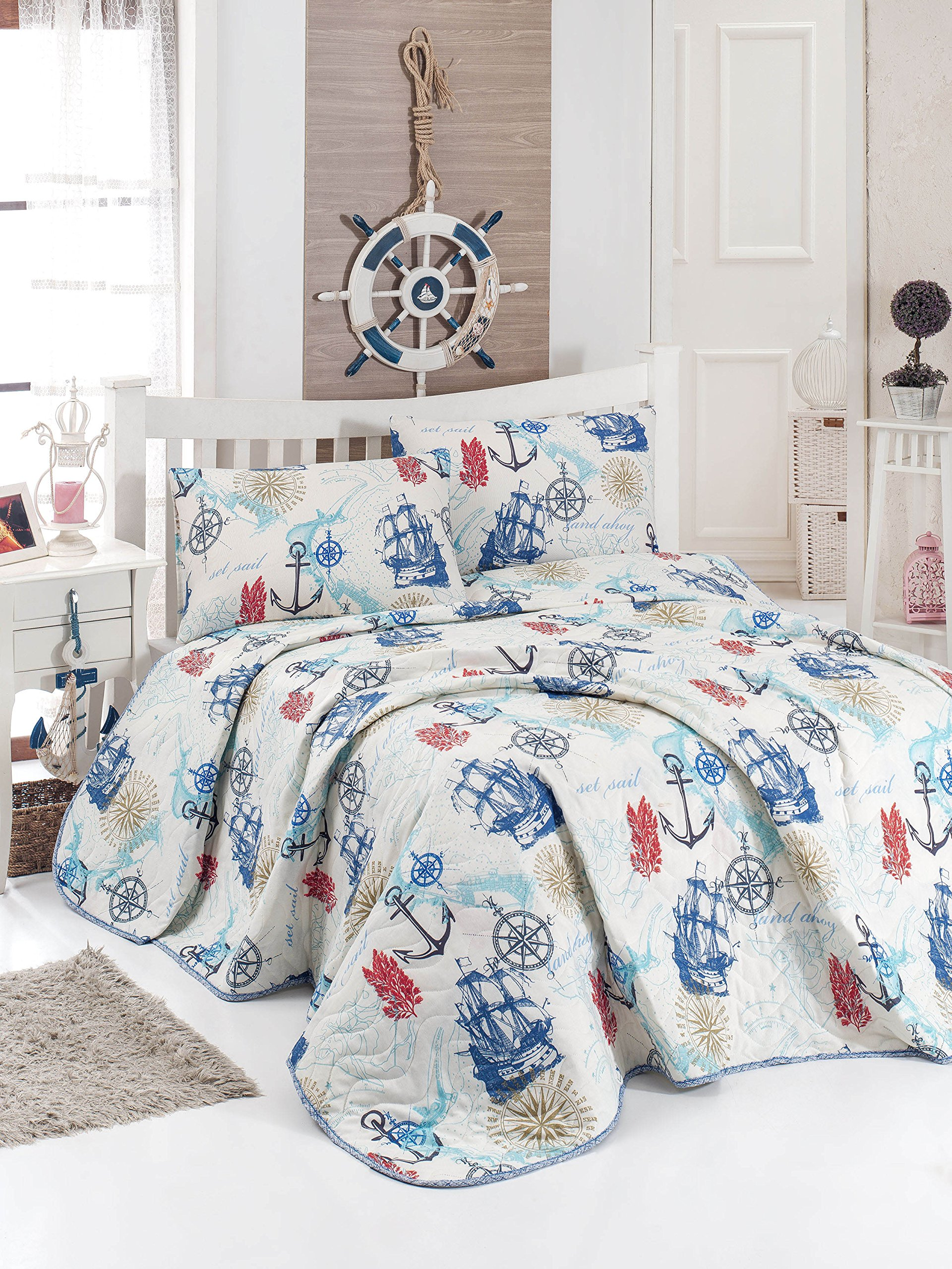 Nautical Bedding, Single/Twin Size Bedspread/Coverlet Set, Vintage Ship Anchors Compass Themed Girls Boys Bedding, 2 PCS,