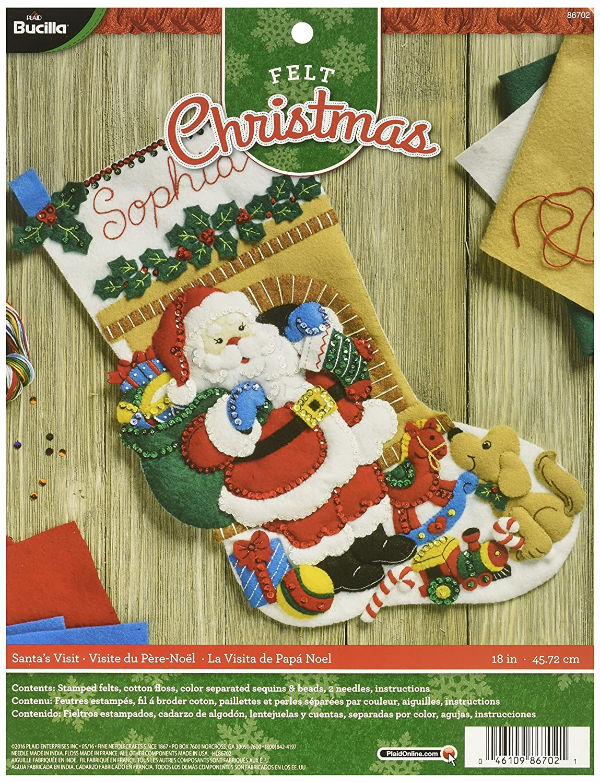 Size 18-Inch Bucilla 86702 Felt Applique Stocking Kit Santas Visit