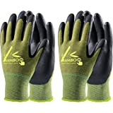 COOLJOB 2 Pairs Gardening Gloves for Women and Men, Bamboo Working Gloves Touchscreen, Grippy Nitrile Rubber Coated Work Glov