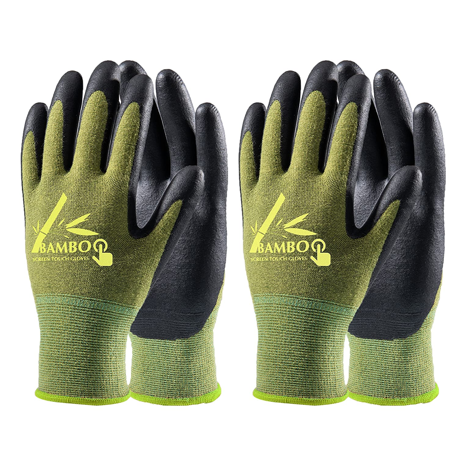 COOLJOB Bamboo Working Gloves for Men and Women, Nitrile Coated Gardening Gloves, Work Gloves Touchscreen for General Purpose, Green/Black, 2 Pairs Pack, Large Size