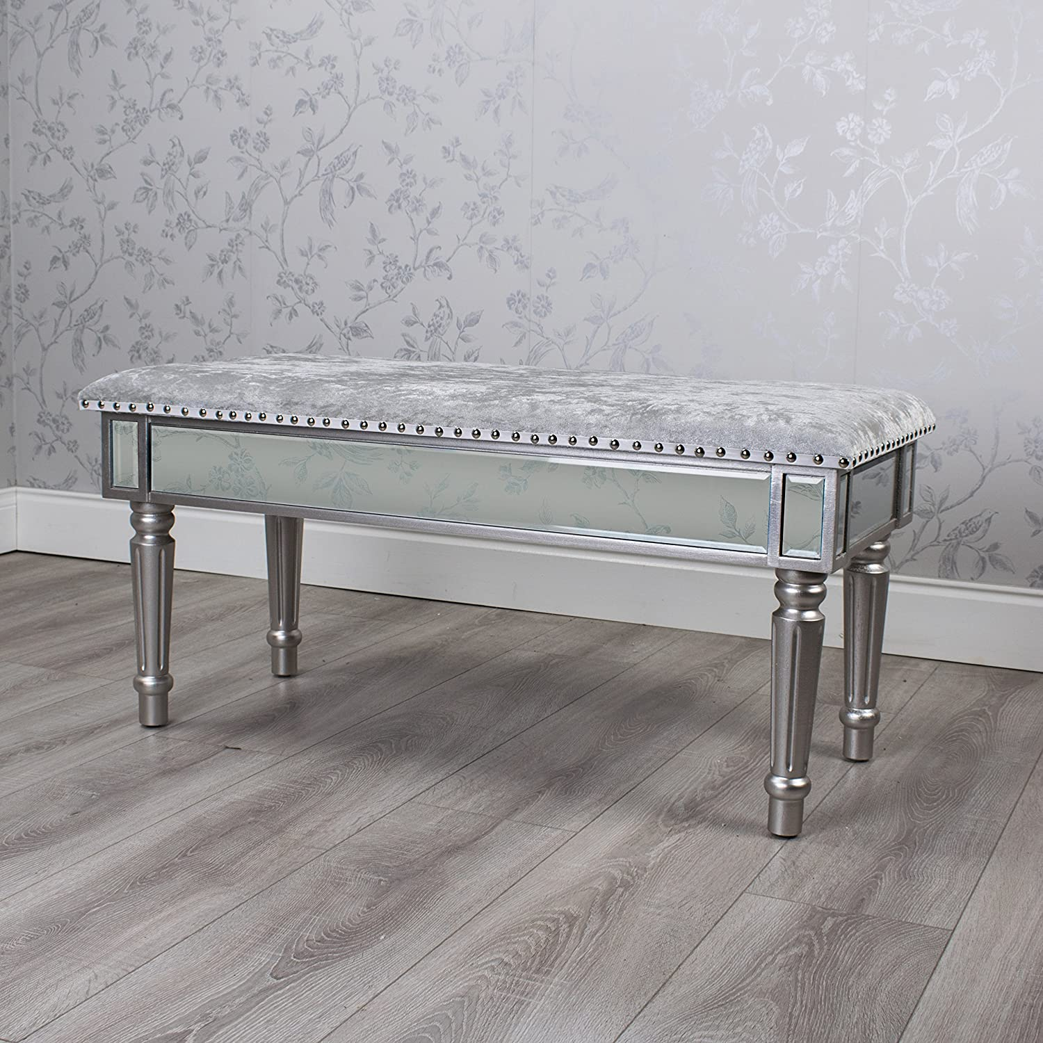 DOWNTON INTERIORS ANTIQUE SILVER MIRRORED GLASS BENCH WITH FABRIC SEAT (GB054) **FULL RANGE OF MATCHING CURVED REFLECTIONS FURNITURE IS AVAILABLE**