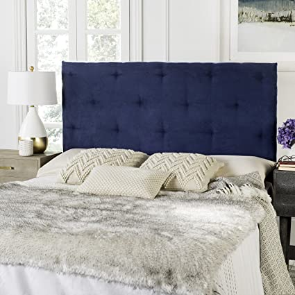 Beau Safavieh Martin Navy Blue Velvet Upholstered Tufted Headboard (Queen)