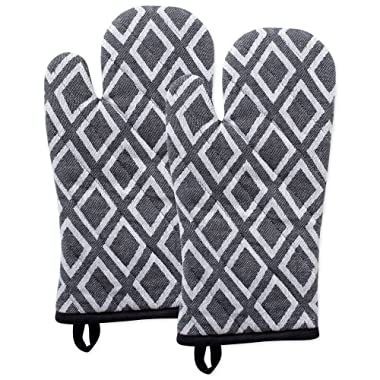 DII Cotton Heat Resistant Kitchen Oven Mitts Set Farmhouse Chic Geometric Design, Machine Washable for Every Home, (6.5x12-Set of 2), Diamond