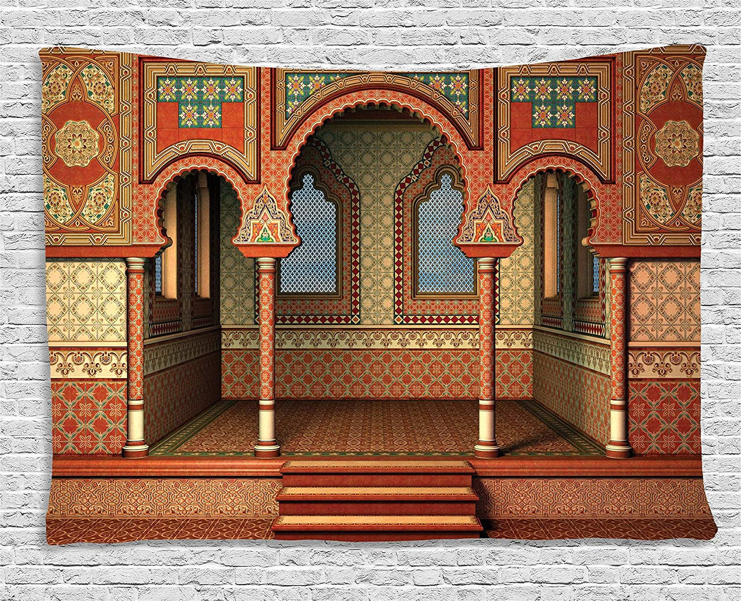 Ambesonne Arabesque Tapestry by, Middle Eastern Oriental Style Interior Palace Architecture Vintage Art Design, Wall Hanging for Bedroom Living Room Dorm, 60 W X 40 L Inches, Golden Red