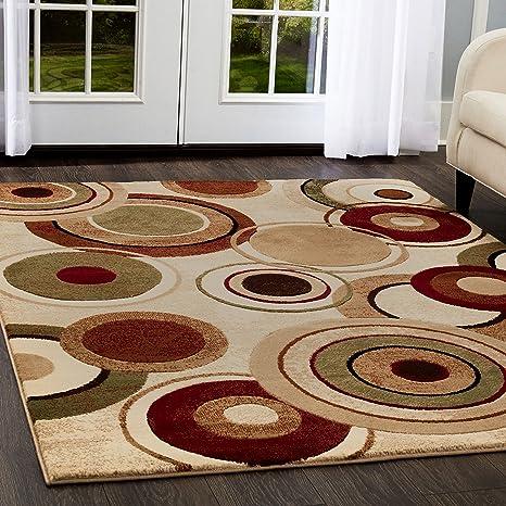 Home Dynamix Tribeca Emmitt Area Rug 3 Piece Set Geometric Ivory Multi Furniture Decor