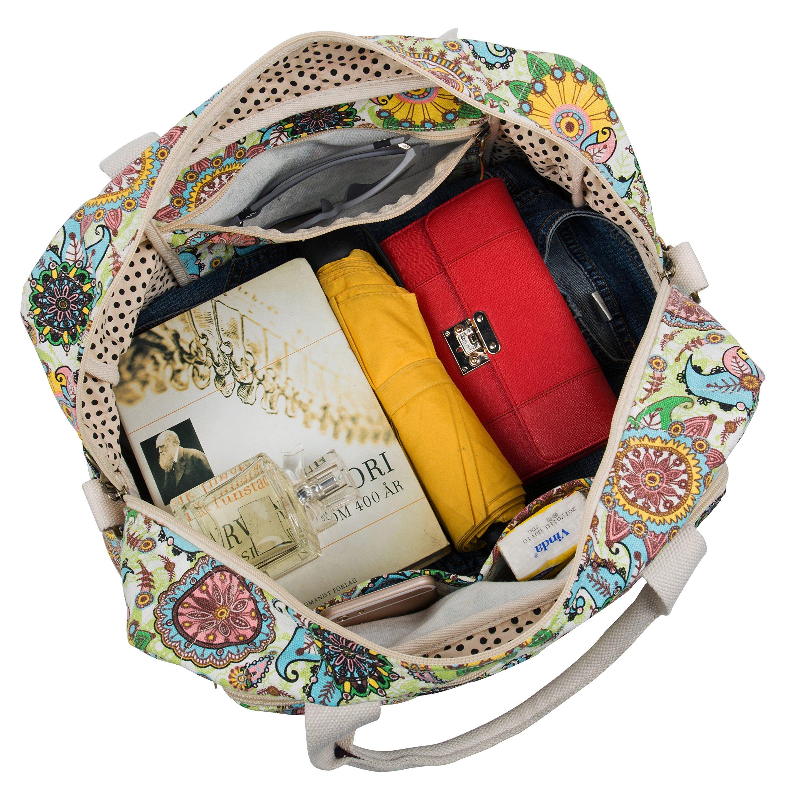 Malirona Canvas Overnight Bag Women Weekender Bag Carry On Travel Duffel Bag Floral Design (Flower) by Malirona (Image #7)