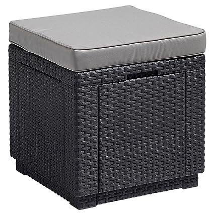 ALLIBERT Tabouret cube avec coussin, gris: Amazon.fr: Jardin