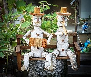 2 Birken Stamm Männchen Auf Bank , Blumenkasten , Garten , Terrasse  ,Handarbeit