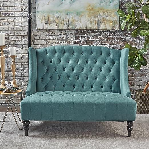 545ab7f12 Amazon.com: GDF Studio Leona Contemporary Tufted Fabric Wingback Loveseat, Dark  Teal and Dark Brown: Home & Kitchen