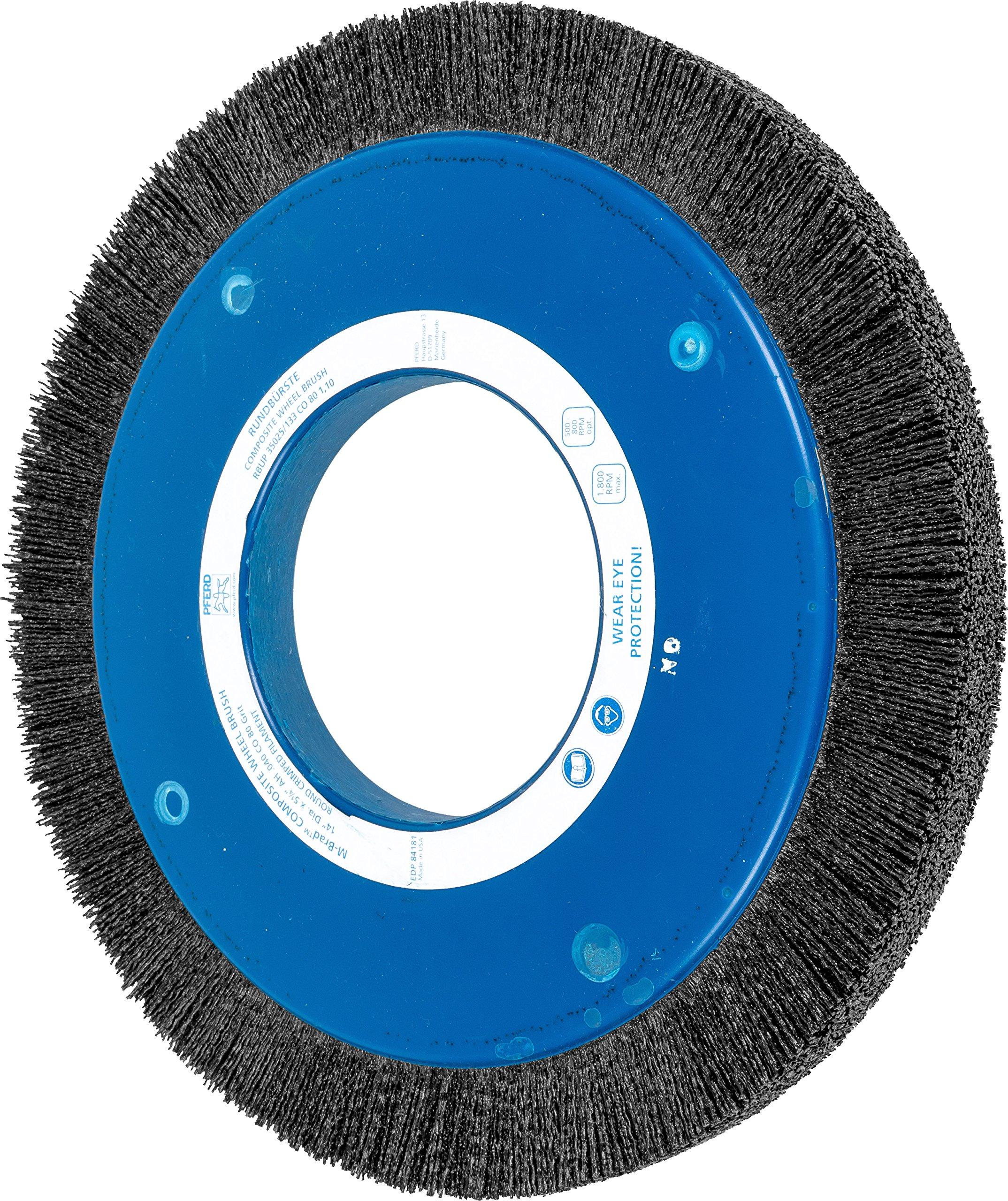 PFERD 84181 Composite Wheel Brush, Ceramic Oxide Grain, 14'' Diameter, 5-1/4'' Arbor Hole, 1-1/2'' Trim Length, 1800 rpm, 80 Grit