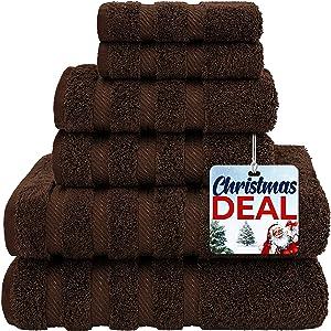 American Soft Linen Premium, Luxury Hotel & Spa Quality, 6 Piece Kitchen & Bathroom Turkish Genuine Cotton Towel Set, for Maximum Softness & Absorbency, [Worth $72.95] Chocolate Brown