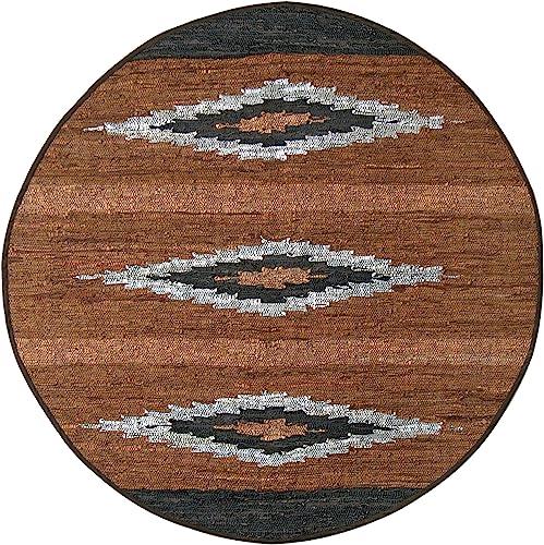 Matador Diamonds Leather Chindi Round Rug, 8 by 8-Feet, Brown