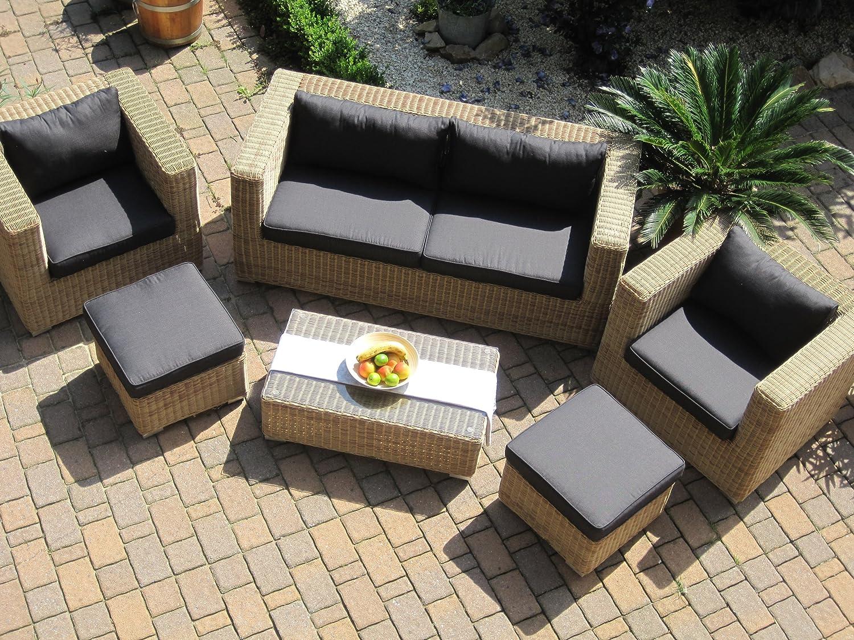 Amazon.de: Lounge Wohnlandschaft Sofa 2 Sessel Tisch 2 Hocker Rattan  Polyrattan Geflecht Gartenmöbel Natur Beige Braun Provence