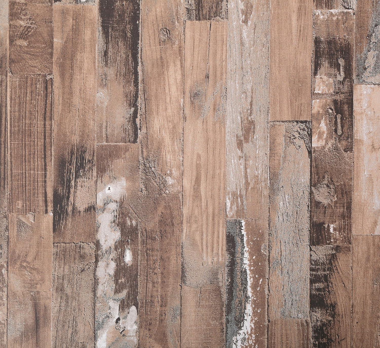 (Paquet de 2) Papier peint mural autocollant - Bois blanchi vintage - 50cm X 3m - Epaisseur de 0,15mm - Etanche - PPVC - Amovible - Pour cuisine, chambre, salon, salle de bain, étagère