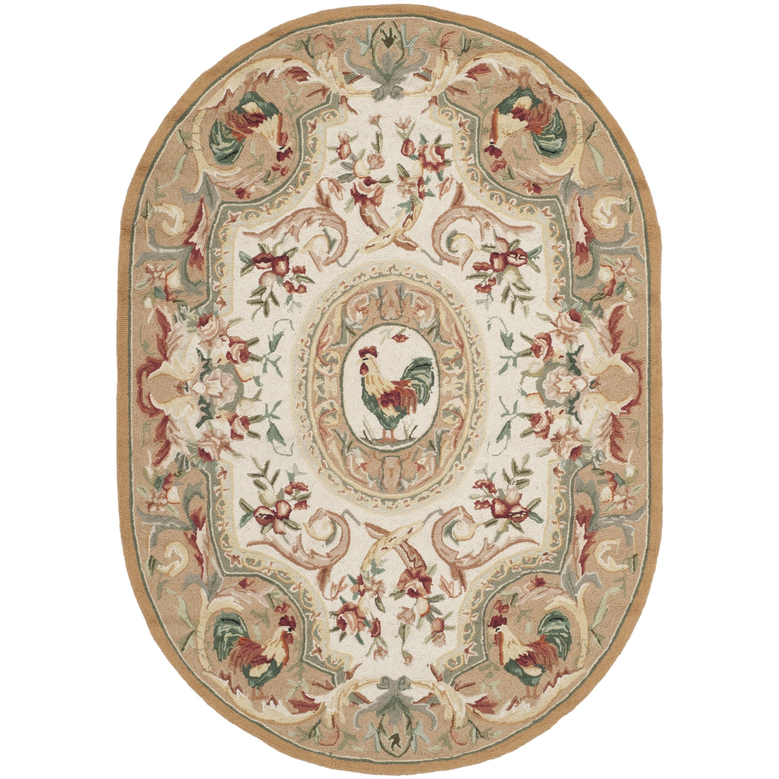 Safavieh Chelsea Collection HK48T Hand-Hooked Taupe Premium Wool Oval Area Rug (4'6'' x 6'6'' Oval)