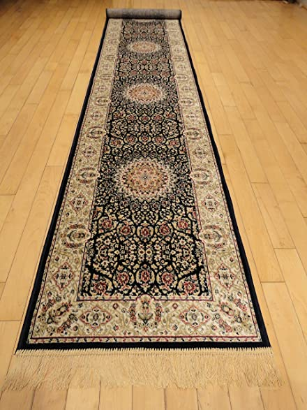 Silk Navy Persian Area Rug Navy Rug 2x12 Hallway Runners Long Runners For Stairs  Rug Area