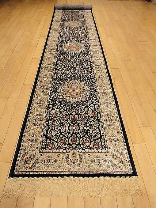 Silk Persian Navy Area Rugs Narrow 2x8 Navy Hallway Runners Stair Carpet  Luxury Qum Traditional Rugs