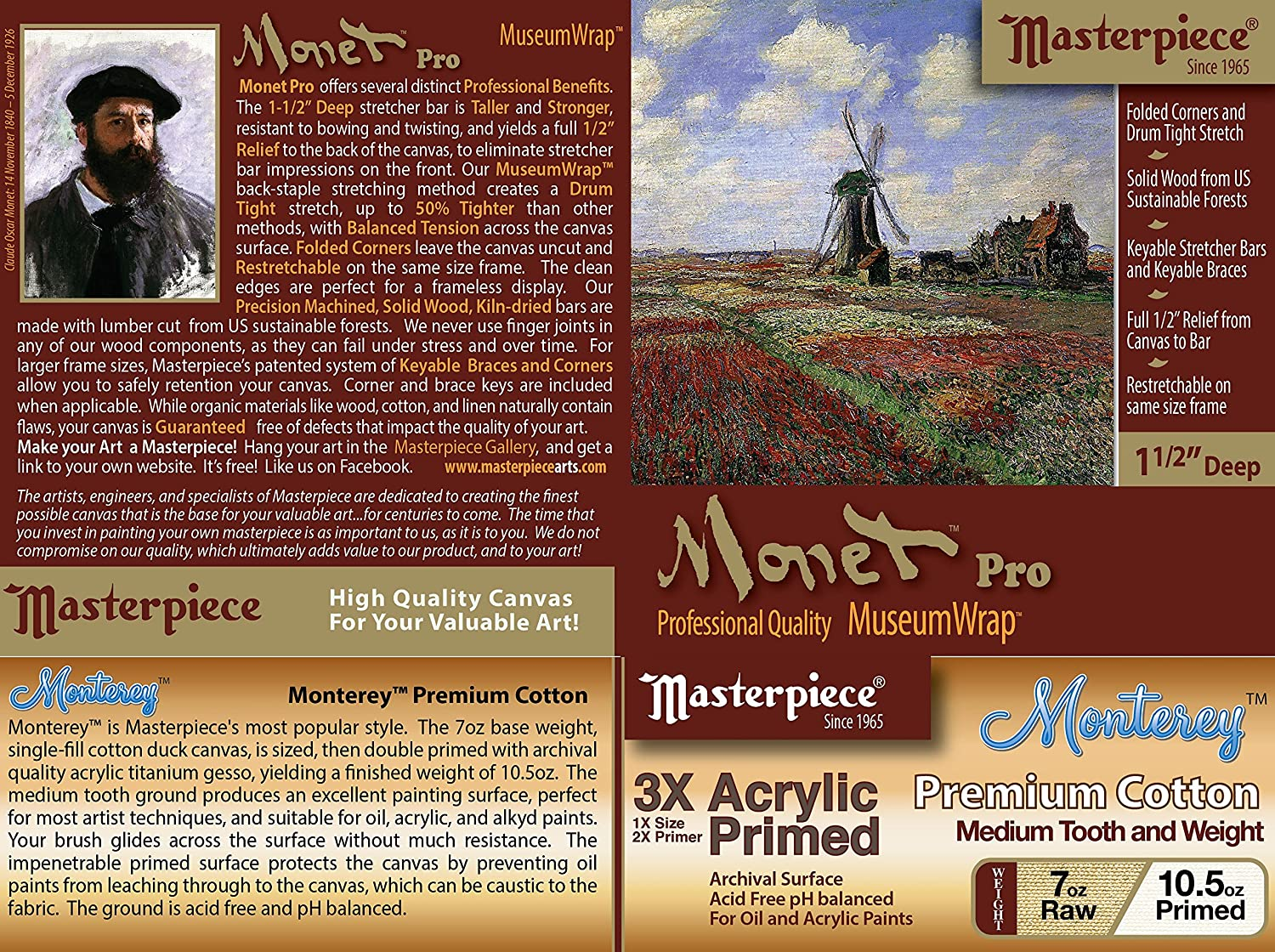 Masterpiece Artist Canvas 43055 Monet PRO 1-1//2 Deep 24 x 24 Monterey Most Popular Cotton 10.5oz 3X
