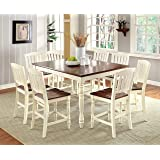 Furniture of America Pauline 9-Piece Cottage Style Pub Dining Set