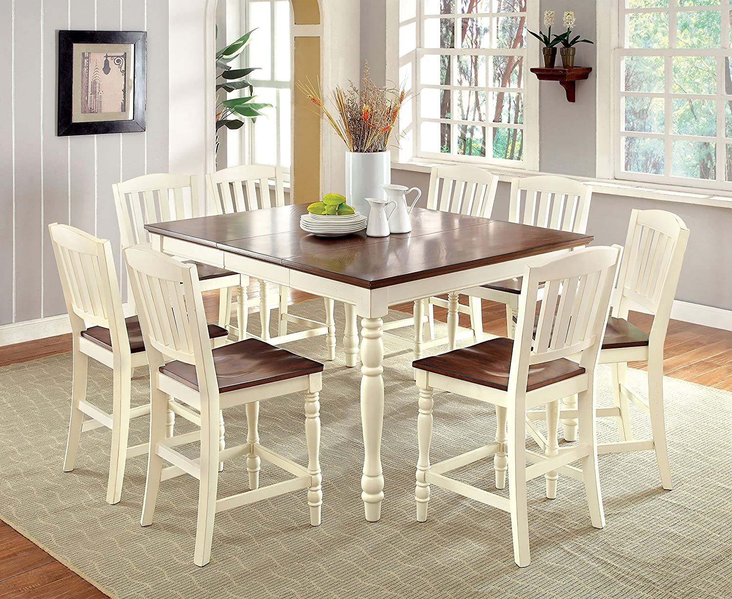 Amazon Com Furniture Of America Pauline 9 Piece Cottage Style Pub