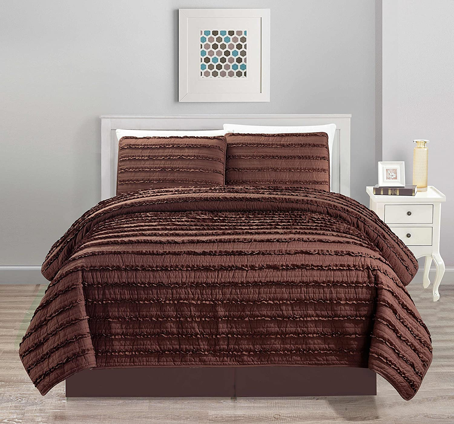 All American All American Collection New 4pc Pleated Ruffle Bedspread/Quilt Set with Bedskirt King Size, Coffee